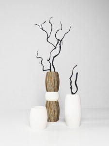 Three modern vases